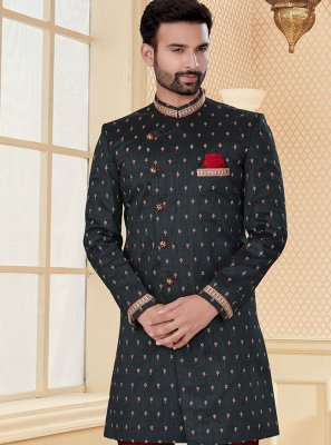 Embroidered Jacquard Indo Western in Black