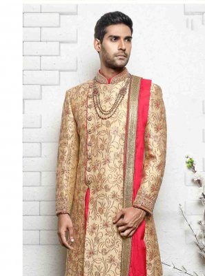 Embroidered Jacquard Indo Western in Cream