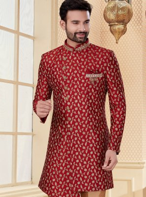 Embroidered Jacquard Indo Western in Red