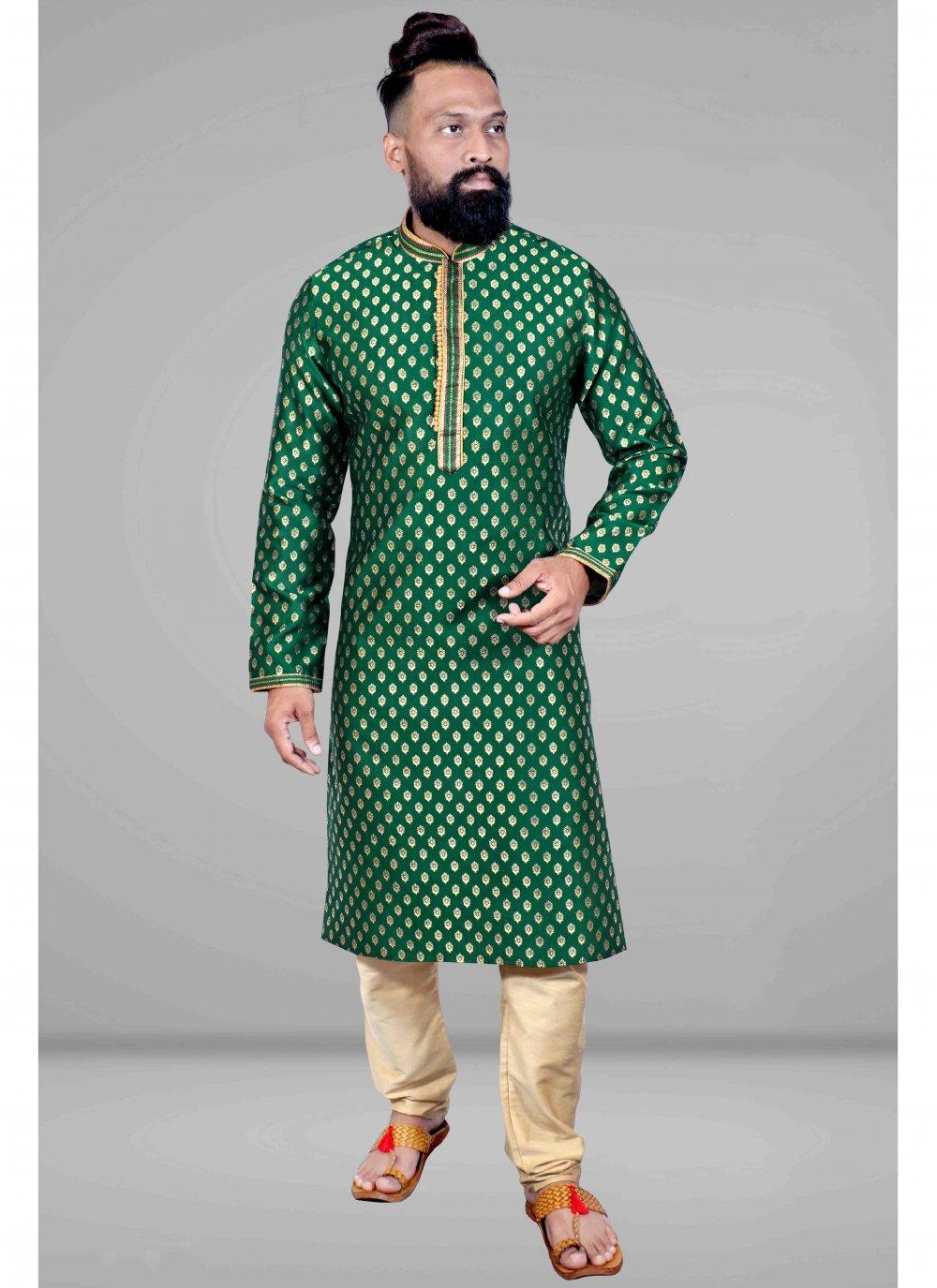 Embroidered Jacquard Kurta Pyjama in Green