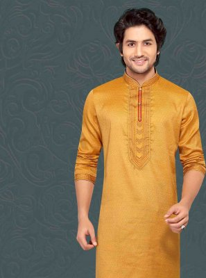 Embroidered Jacquard Kurta Pyjama in Mustard