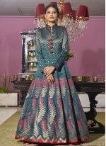 Embroidered Jacquard Rama Readymade Anarkali Suit