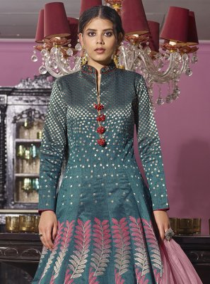 Embroidered Jacquard Rama Readymade Anarkali Suit