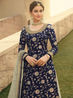 Embroidered Jacquard Silk Designer Palazzo Salwar Suit in Blue