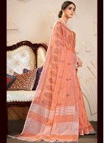Embroidered Linen Contemporary Saree in Peach