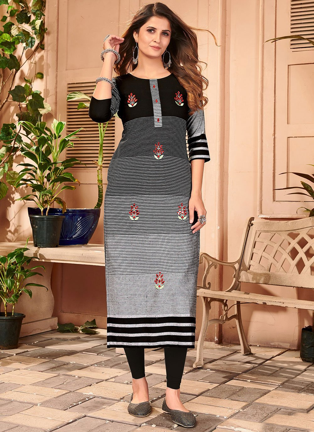 Embroidered Linen Party Wear Kurti in Black and Grey