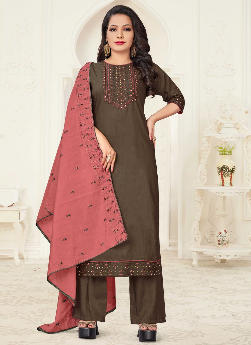 Embroidered Linen Readymade Suit