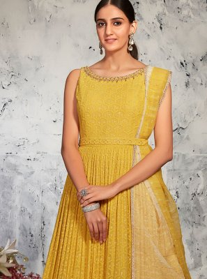 Embroidered Lucknowi Floor Length Anarkali Suit in Yellow