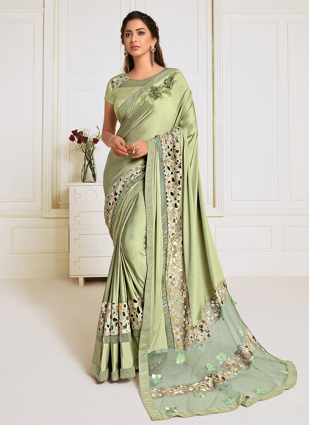 Embroidered Lycra Trendy Saree in Green
