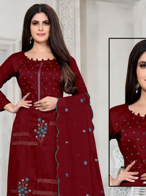 Embroidered Maroon Designer Palazzo Suit