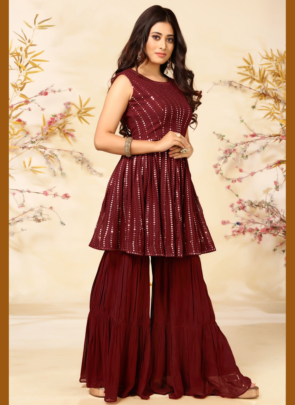 Embroidered Maroon Faux Georgette Readymade Suit