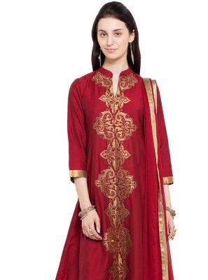 Embroidered Maroon Readymade Anarkali Salwar Suit