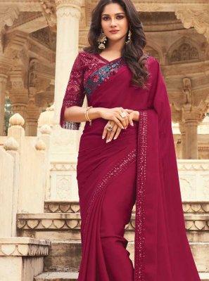 Embroidered Maroon Silk Designer Traditional Saree
