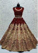 Embroidered Maroon Velvet Lehenga Choli