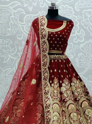 Embroidered Maroon Velvet Lehenga Choli