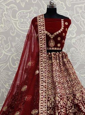 Embroidered Maroon Velvet Trendy Lehenga Choli