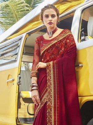 Embroidered Maroon Vichitra Silk Traditional Designer Saree