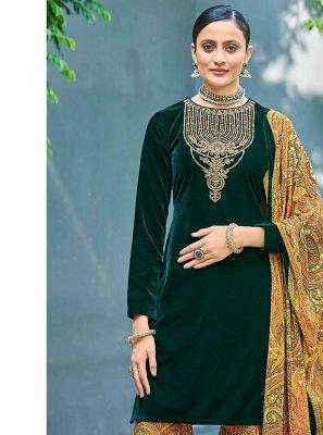 Embroidered Mehndi Designer Pakistani Salwar Suit