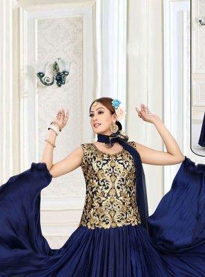 Embroidered Mehndi Floor Length Designer Suit