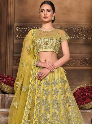 Embroidered Mehndi Lehenga Choli