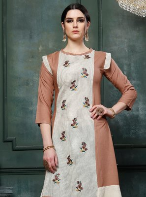 Embroidered Multi Colour Party Wear Kurti