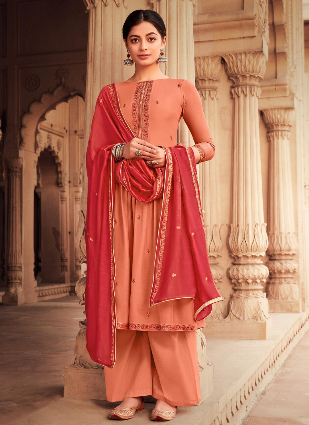 Embroidered Muslin Designer Palazzo Suit
