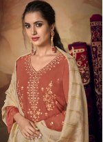 Embroidered Muslin Rust Designer Palazzo Suit