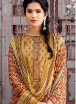 Embroidered Mustard Cotton Designer Pakistani Suit