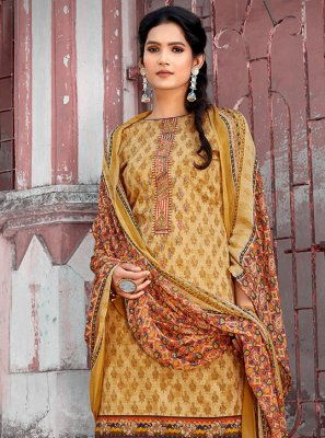 Embroidered Mustard Cotton Designer Pakistani Suit