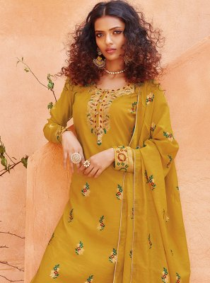 Embroidered Mustard Pant Style Suit