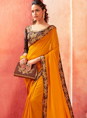 Embroidered Mustard Silk Contemporary Saree