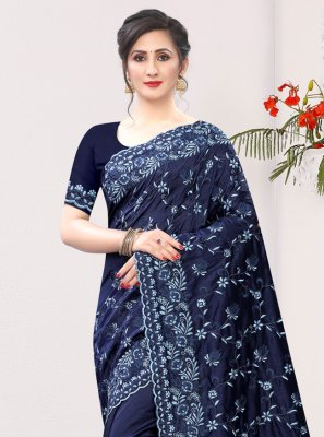 Embroidered Navy Blue Contemporary Saree