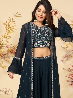Embroidered Navy Blue Faux Georgette Readymade Suit