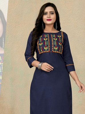 Embroidered Navy Blue Party Wear Kurti