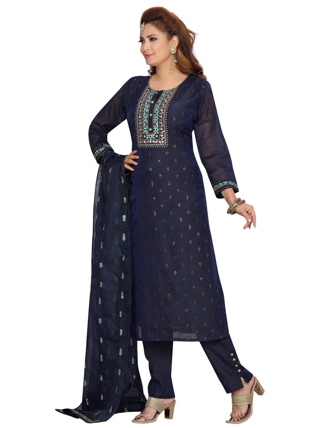Embroidered Navy Blue Readymade Suit