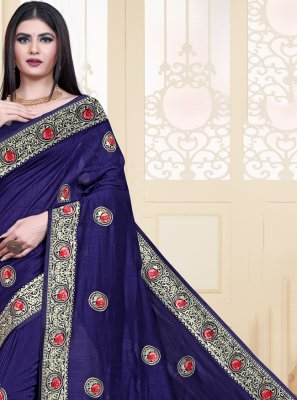Embroidered Navy Blue Silk Classic Saree
