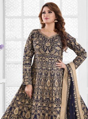 Embroidered Navy Blue Silk Floor Length Anarkali Suit