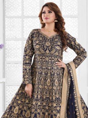 Embroidered Navy Blue Silk Floor Length Anarkali Suit