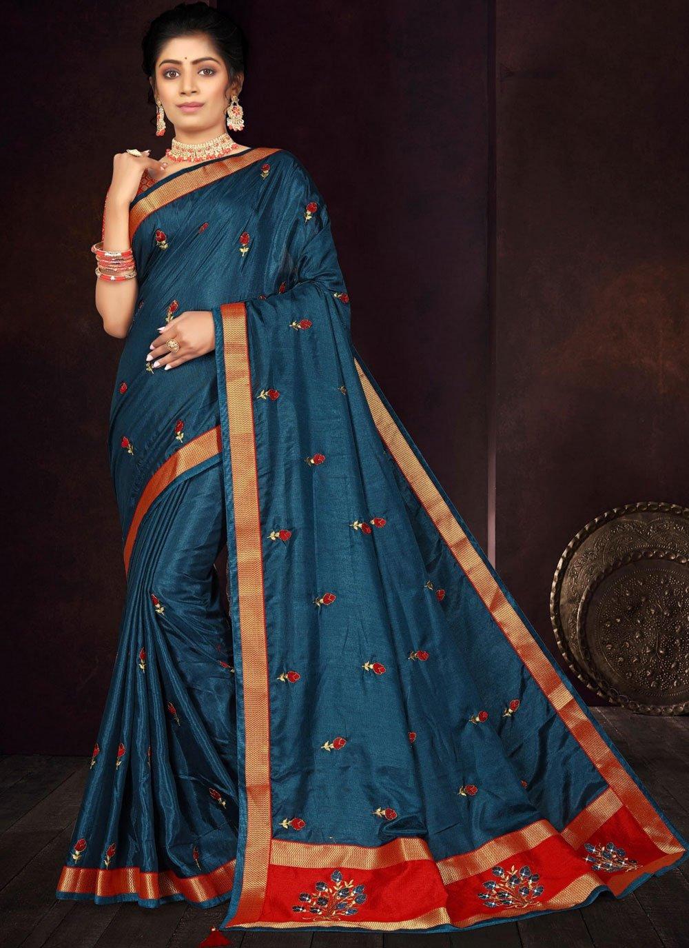Embroidered Navy Blue Vichitra Silk Traditional Saree