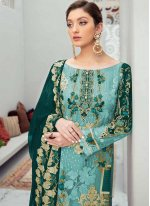 Embroidered Net Aqua Blue Designer Pakistani Salwar Suit