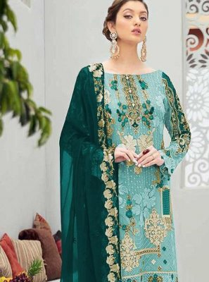 Embroidered Net Aqua Blue Designer Pakistani Salwar Suit