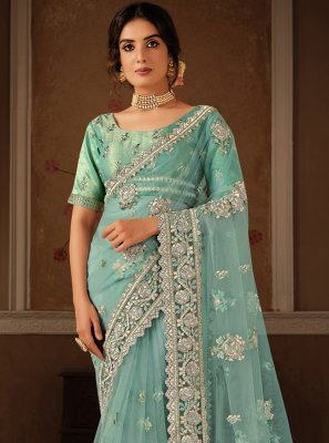 Embroidered Net Aqua Blue Designer Traditional Saree