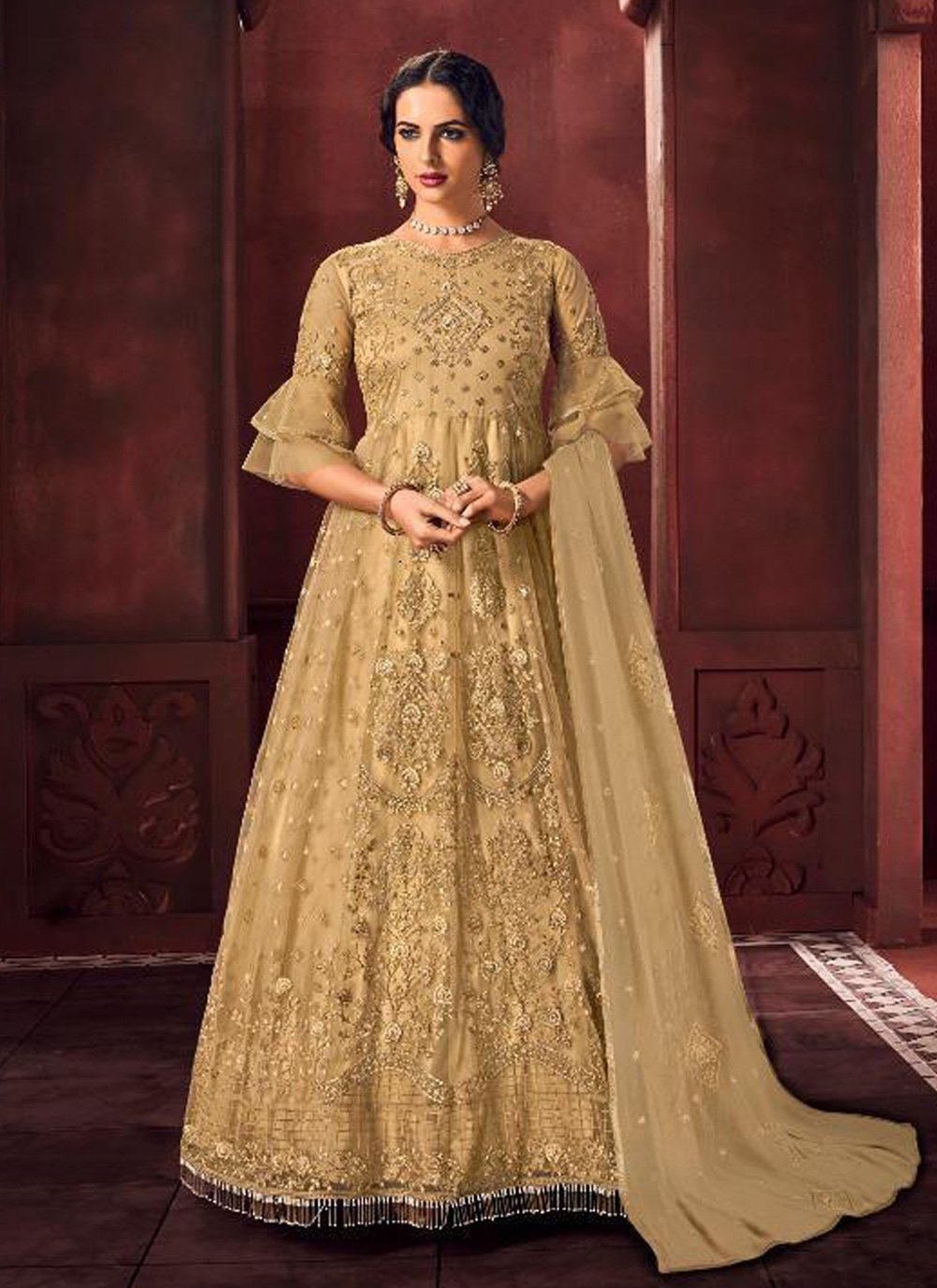 Embroidered Net Beige Floor Length Anarkali Suit