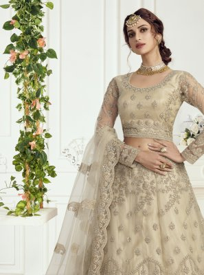Embroidered Net Beige Lehenga Choli