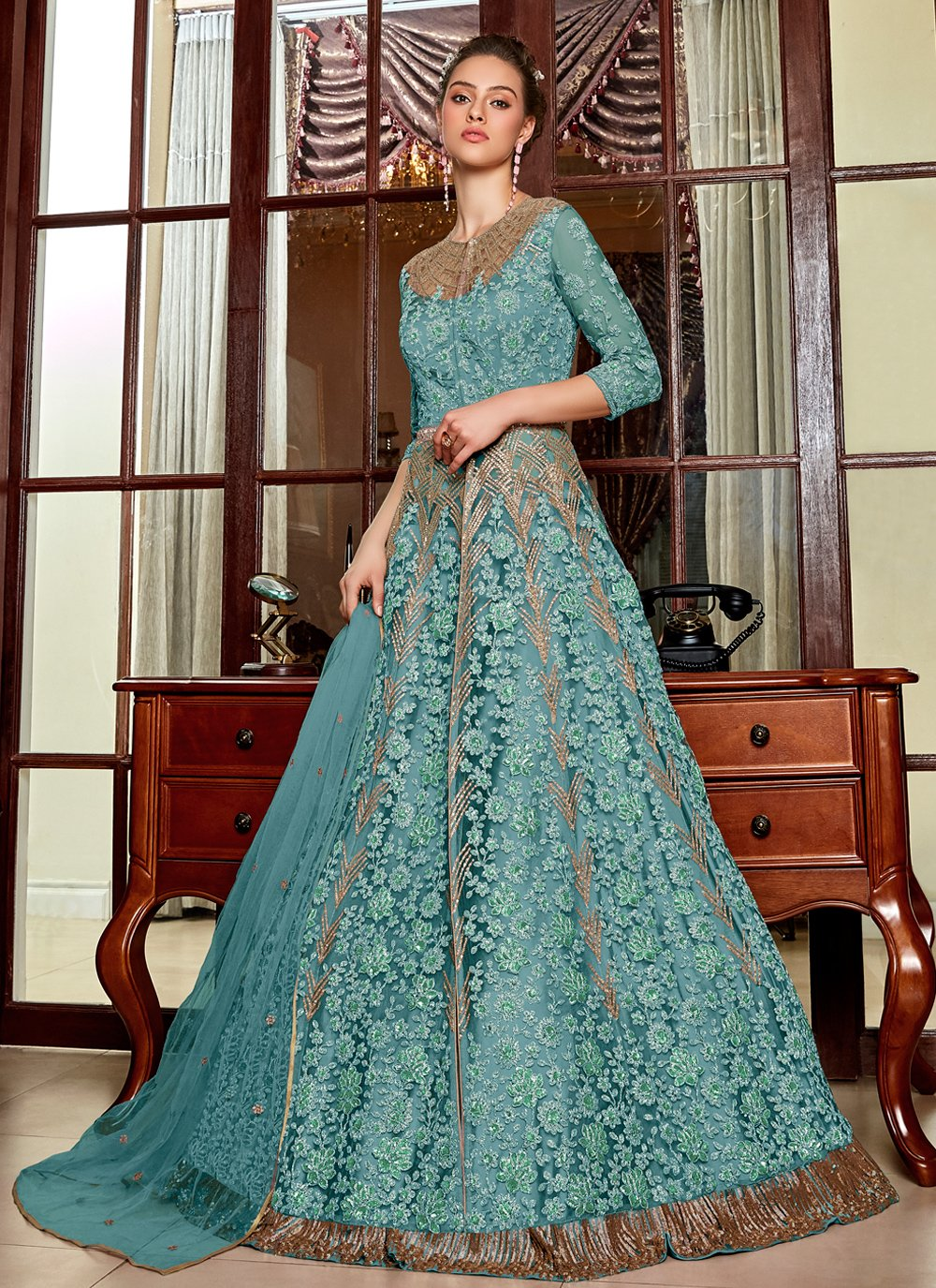 Embroidered Net Blue Long Choli Lehenga