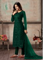Embroidered Net Churidar Designer Suit in Green