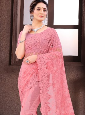 Embroidered Net Classic Saree in Pink