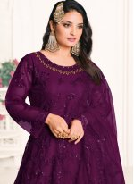 Embroidered Net Designer Floor Length Salwar Suit in Purple