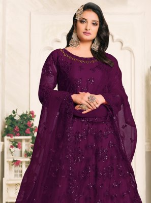 Embroidered Net Designer Floor Length Salwar Suit in Purple