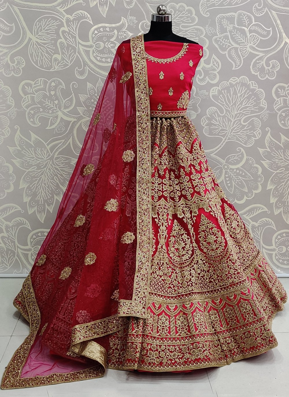 Embroidered Net Designer Lehenga Choli in Pink